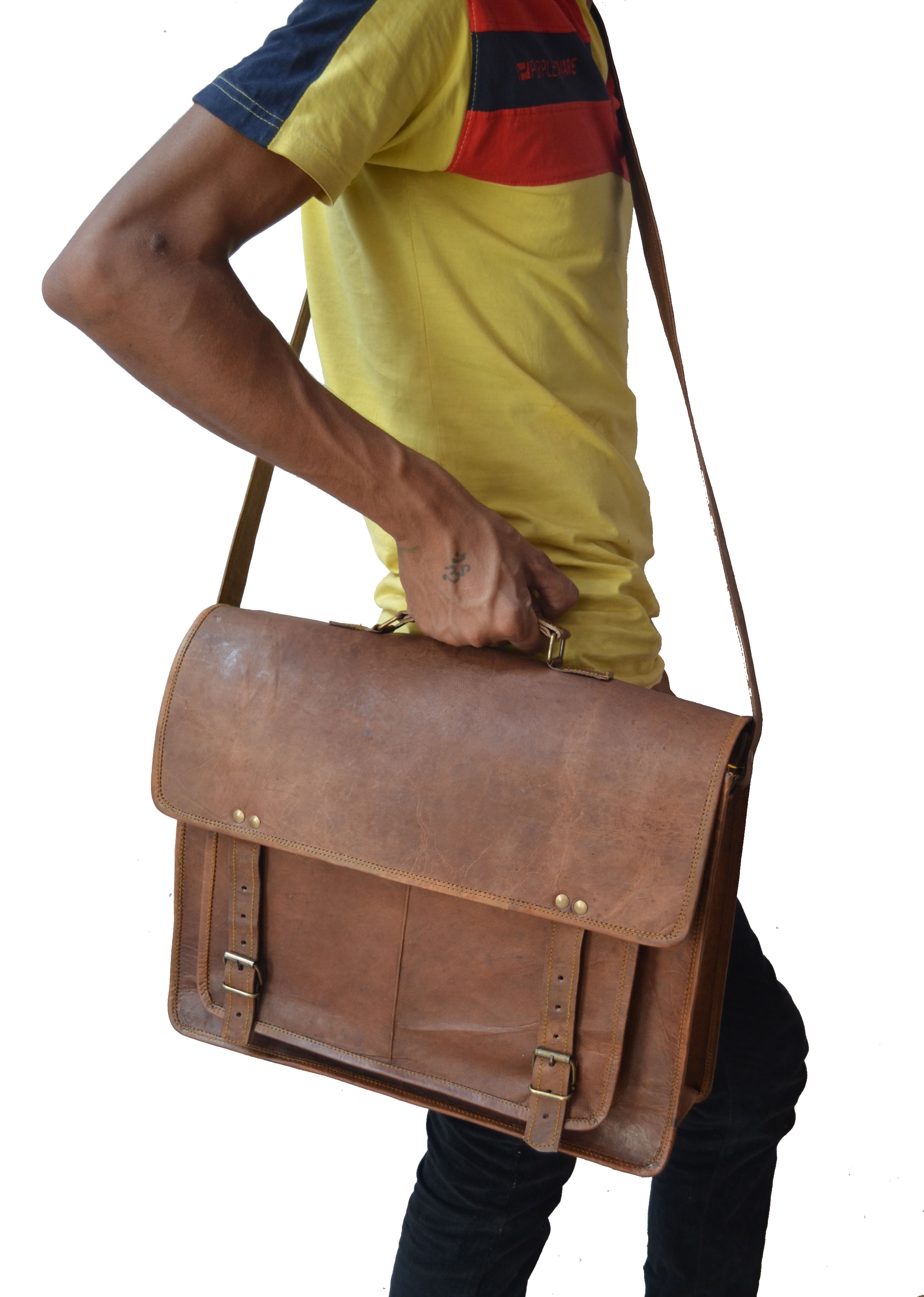 """HandMadeCart Genuine 14 """"inches Men's Auth Real Leather Messenger ..."""