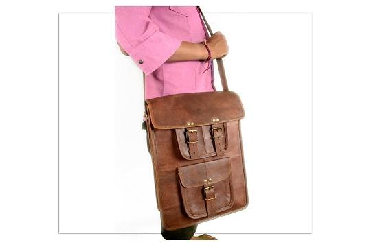 Quality Vintage Style Handmade Real Leather Laptop Notebook Satchel Saddle Bag