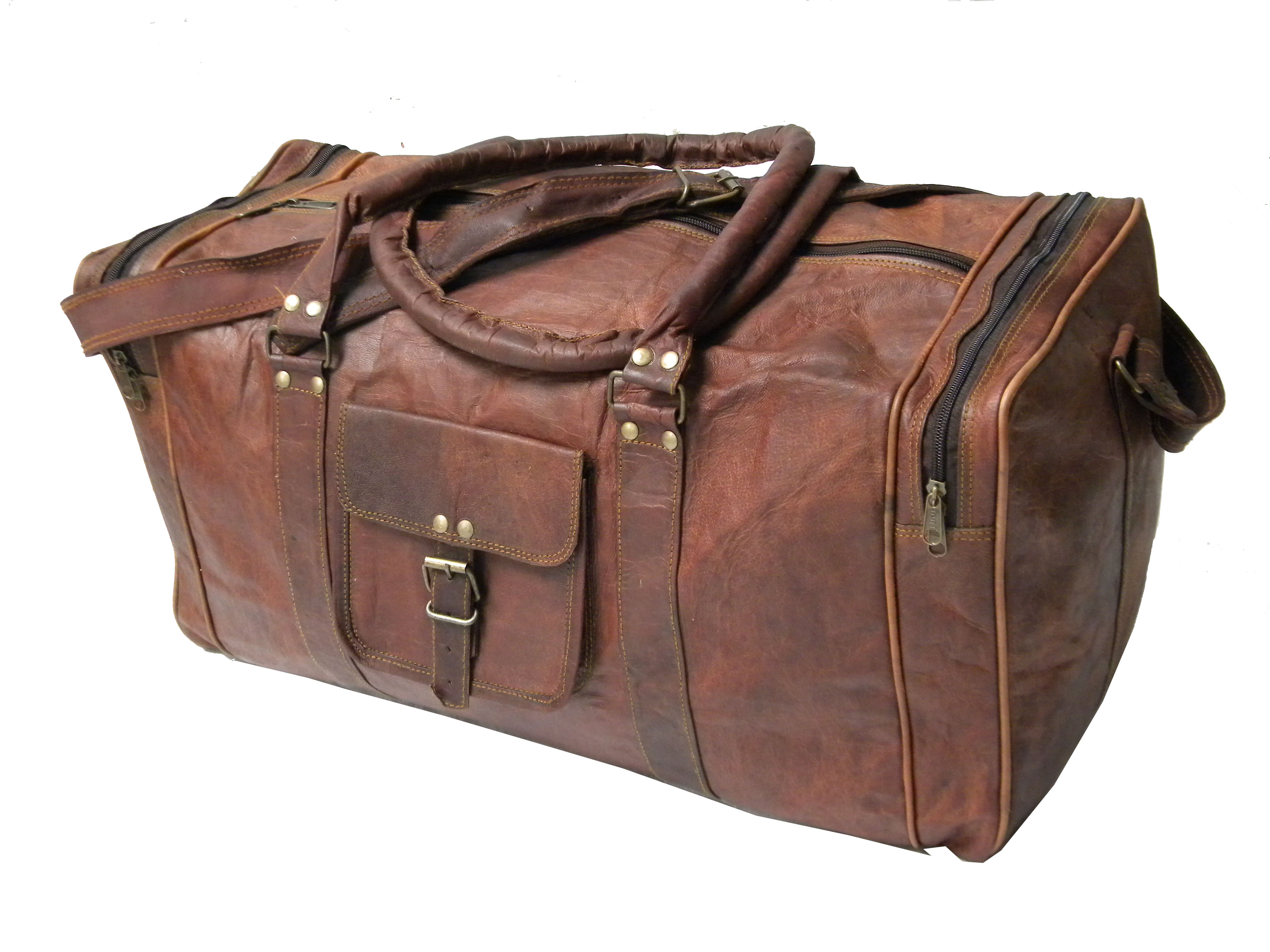 03cc31b54864 Handmade 20 Inch Brown Round Goat Leather Duffle Bag Travel Bag Leather  cabin bag Sport