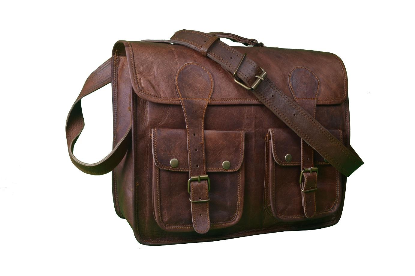 14″ Inch Leather Laptop Bag Messenger Bag Men Brown Leather ...