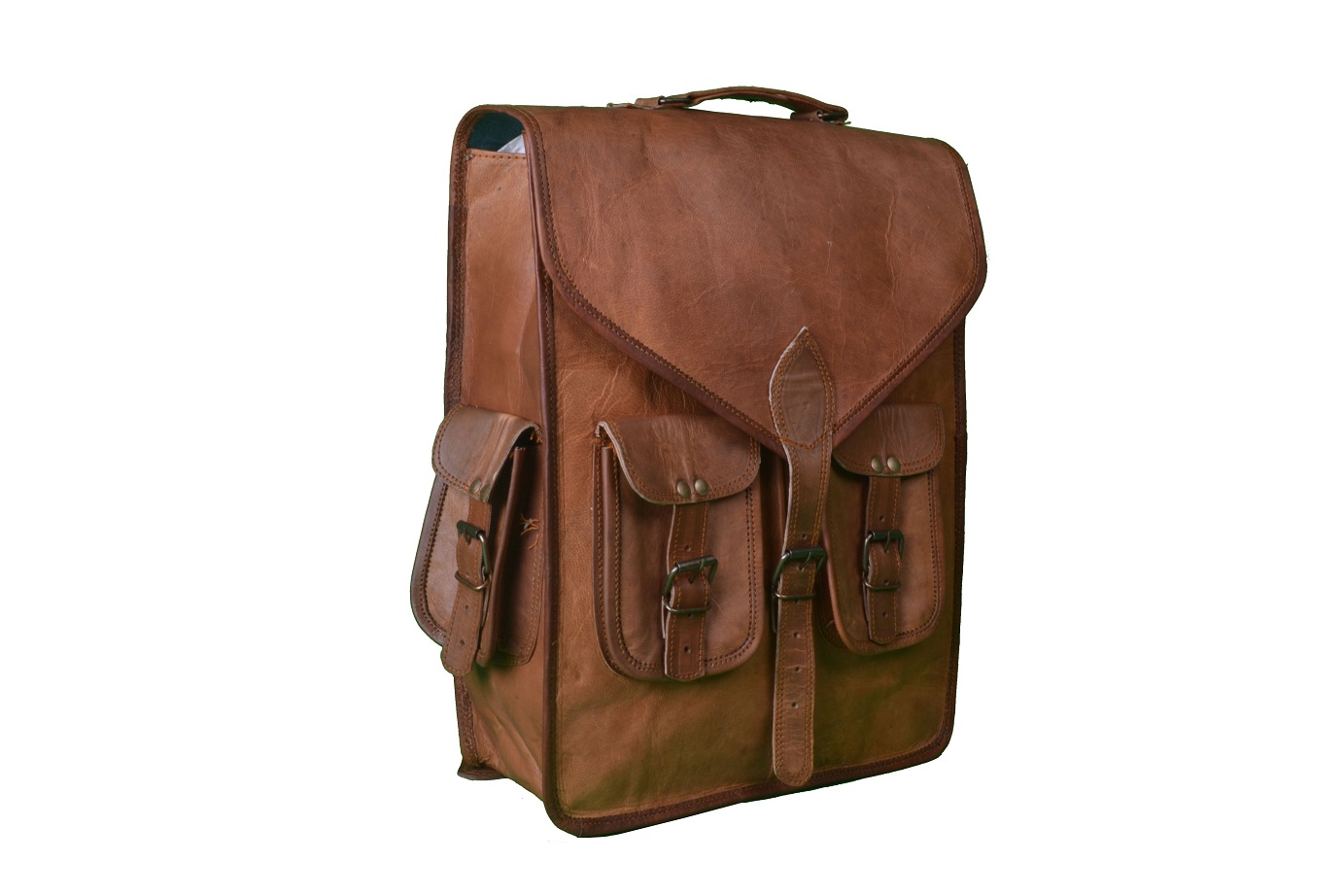 14″ Inch Leather Rucksack Leather Computer Backpack Briefcase ...