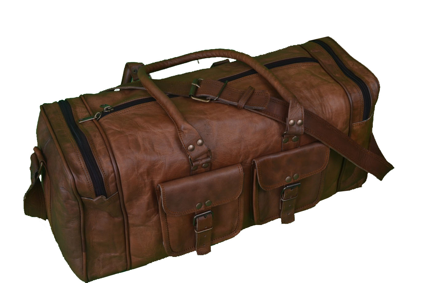 20″ Inch Men's Leather Duffle Bag Mens Weekender Bag Weekend Bag ...