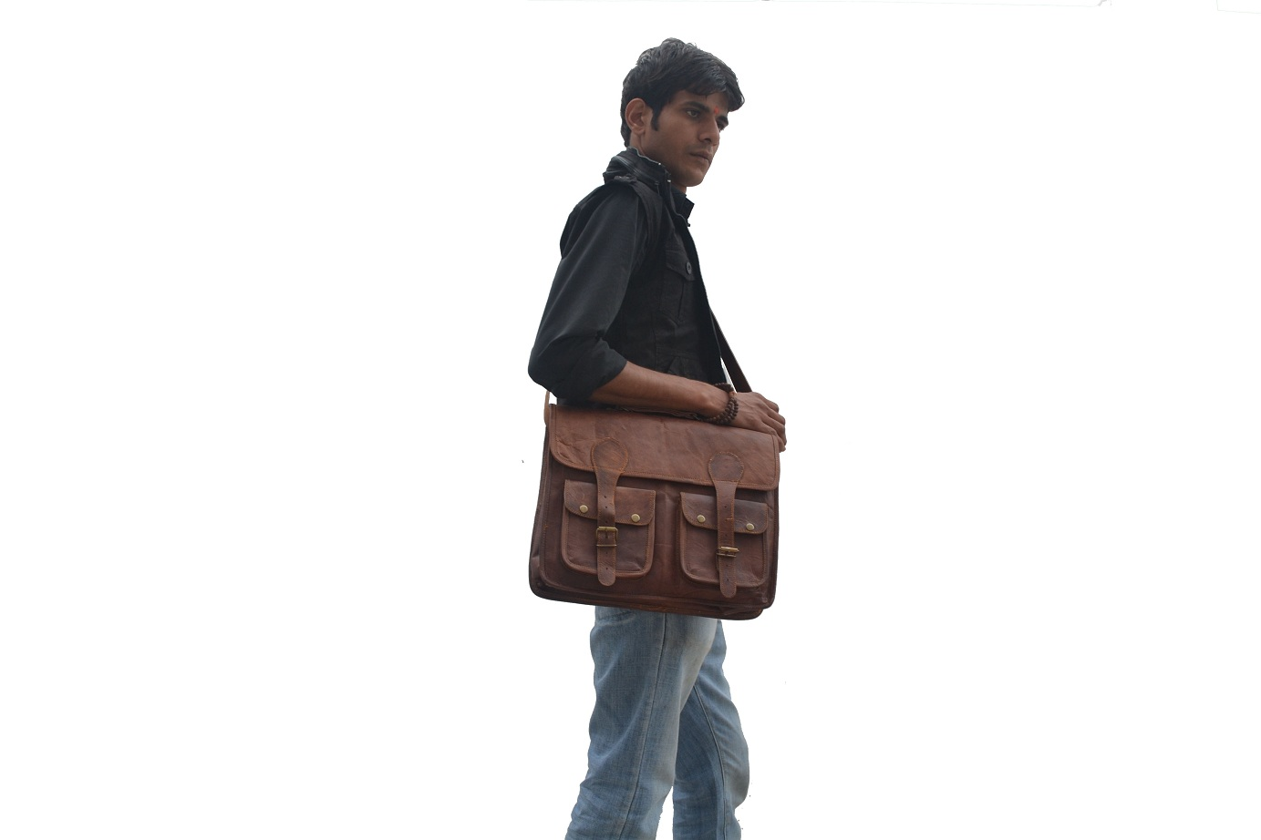 18 Inch Distressed Brown Leather Messenger Bag Rustic Laptop