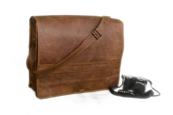 Vintage Leather Messenger Bag 16inhes Unisex Crossbody Satchel Bag Briefcase