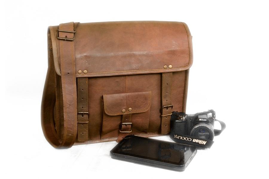 Real vintage leather handmade messenger satchel bag cross body brown briefcase