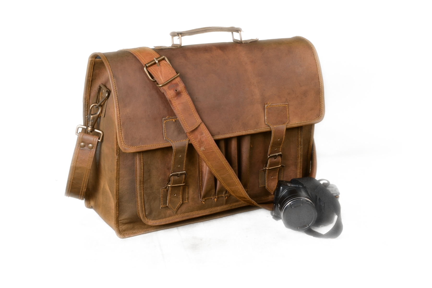 Bag Men/'s Leather Messenger Laptop Shoulder Briefcase Brown Business Office Bag